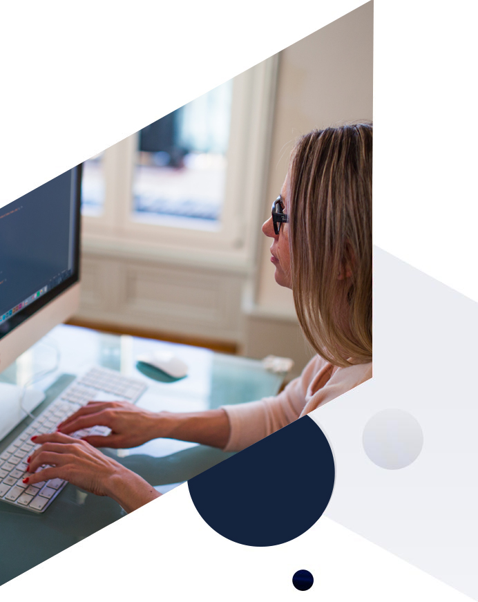 cyber security graphic - woman working on PC